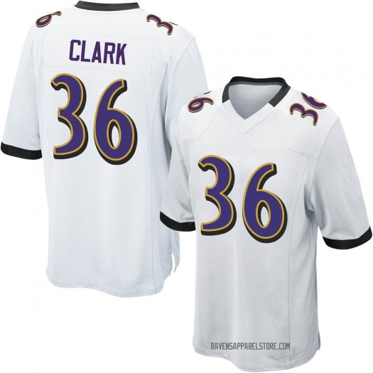 Nike Chuck Clark Baltimore Ravens Game White Jersey - Youth