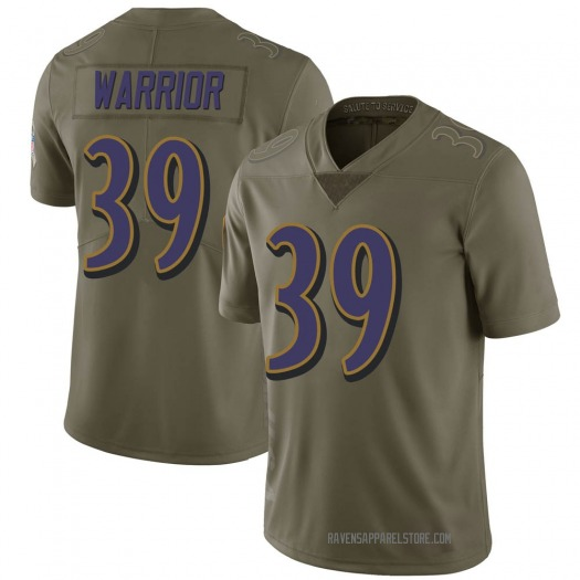 Nike Nigel Warrior Baltimore Ravens Limited Green 2017 Salute to Service Jersey - Youth