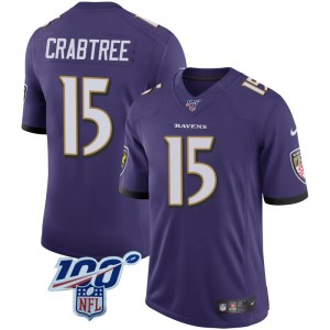 Nike Michael Crabtree Baltimore Ravens Limited Purple 100th Vapor Jersey - Youth