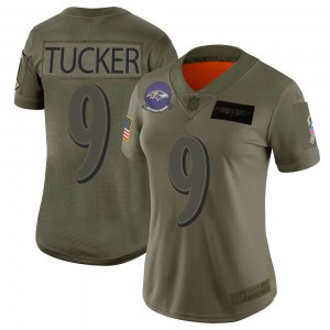 Nike Justin Tucker Baltimore Ravens Limited Camo 2019 Salute to Service Jersey - Women's