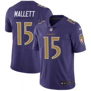 Nike Ryan Mallett Baltimore Ravens Limited Purple Color Rush Vapor Untouchable Jersey - Youth