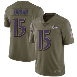 Nike Marquise Brown Baltimore Ravens Limited Green 2017 Salute to Service Jersey - Youth