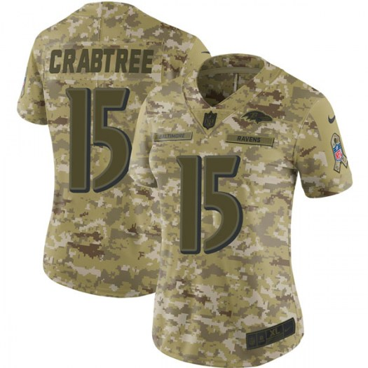 Nike Michael Crabtree Baltimore Ravens Limited Camo 2018 Salute to Service Jersey - Women's